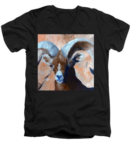 Bighorn Sheep Men's V-Neck T-Shirt by Susan Woodward