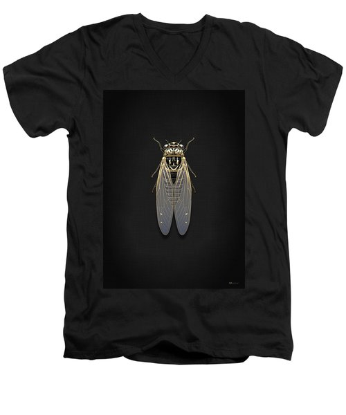 Black Cicada With Gold Accents On Black Canvas Men's V-Neck T-Shirt