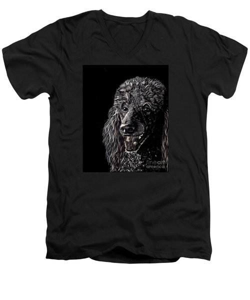 Men's V-Neck T-Shirt featuring the drawing Black Standard Poodle by Terri Mills