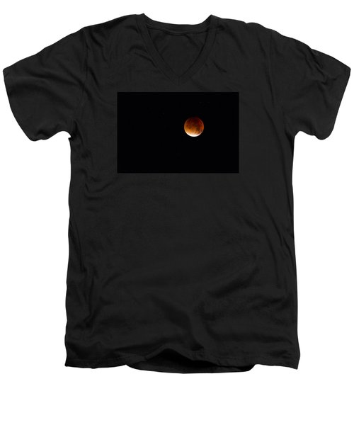 Blood Moon Super Moon 2015 Men's V-Neck T-Shirt by Clare Bambers