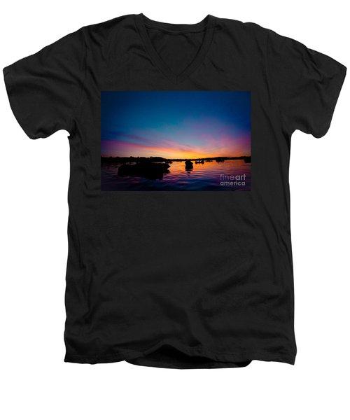 Boats And Sunrise Above Lake Water Summer Time Latvia Ezera Skanas Men's V-Neck T-Shirt