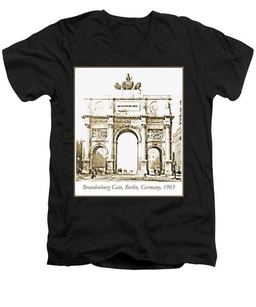 Brandenburg Gate, Berlin Germany, 1903, Vintage Image Men's V-Neck T-Shirt