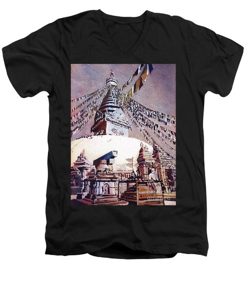 Men's V-Neck T-Shirt featuring the painting Buddhist Stupa- Nepal by Ryan Fox