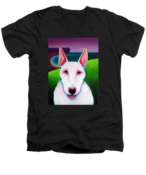 Men's V-Neck T-Shirt featuring the painting Bull Terrier by Leanne WILKES