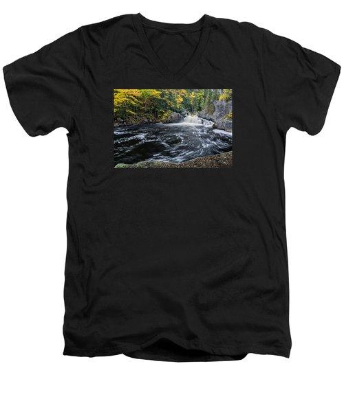 Buttermilk Falls Gulf Hagas Me. Men's V-Neck T-Shirt by Michael Hubley