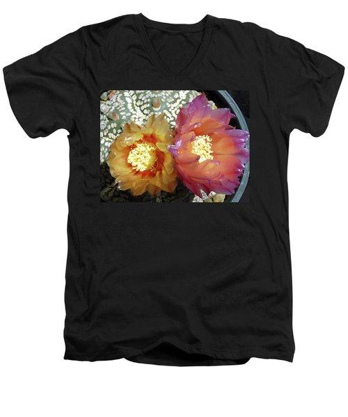 Cactus Flower 3 Men's V-Neck T-Shirt by Selena Boron