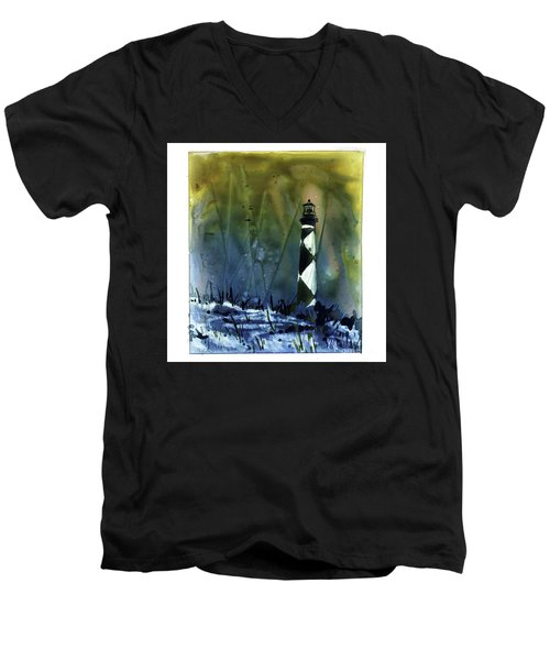 Men's V-Neck T-Shirt featuring the mixed media Cape Lookout Lighthouse by Ryan Fox
