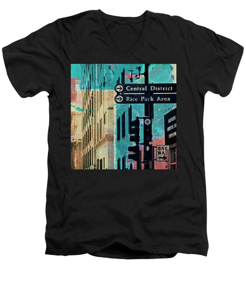 Men's V-Neck T-Shirt featuring the photograph Central District by Susan Stone