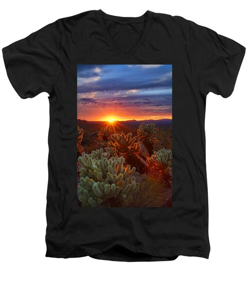 Cholla Sunset  Men's V-Neck T-Shirt