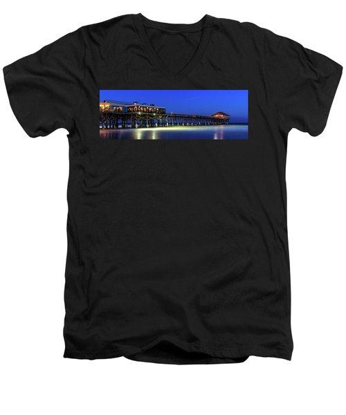 Cocoa Beach Pier At Twilight Men's V-Neck T-Shirt