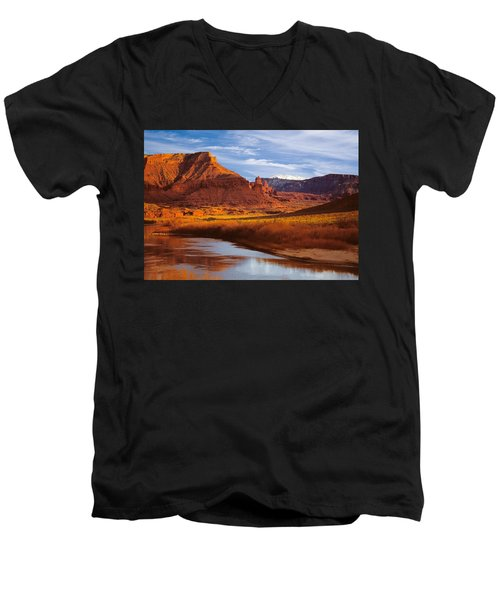 Colorado River At Fisher Towers Men's V-Neck T-Shirt by Utah Images
