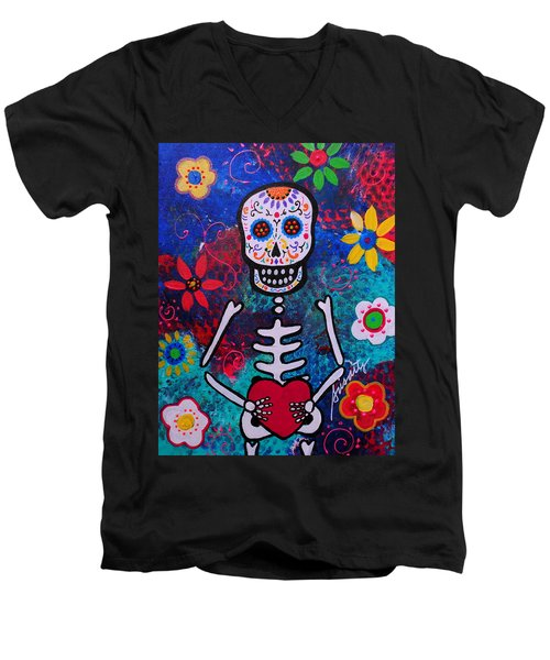 Corazon Day Of The Dead Men's V-Neck T-Shirt