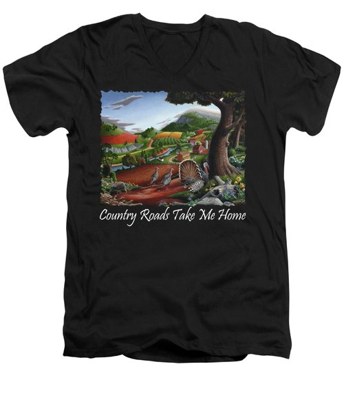 Country Roads Take Me Home T Shirt - Turkeys In The Hills Country Landscape 2 Men's V-Neck T-Shirt by Walt Curlee