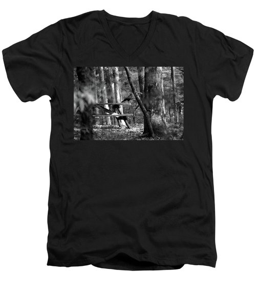 Men's V-Neck T-Shirt featuring the photograph Crow On A Table by Andy Lawless