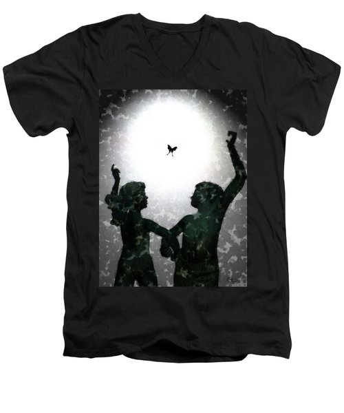 Men's V-Neck T-Shirt featuring the digital art Dancing Silhouettes by Holly Ethan