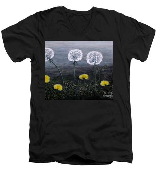 Men's V-Neck T-Shirt featuring the painting Dandelion Family by Judy Kirouac