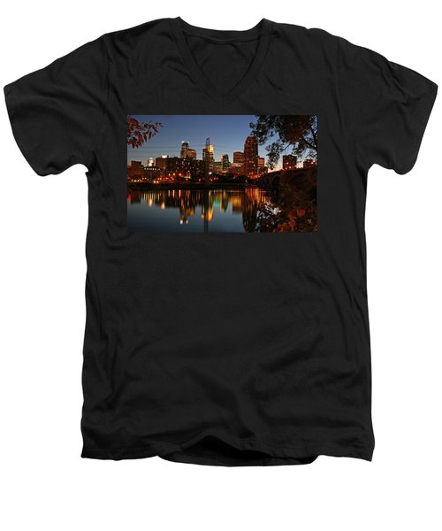 Downtown Minneapolis At Night Men's V-Neck T-Shirt