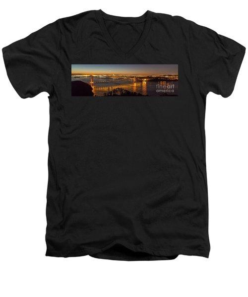 Downtown San Francisco And Golden Gate Bridge Just Before Sunris Men's V-Neck T-Shirt