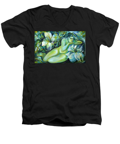 Dreaming Flower Men's V-Neck T-Shirt by Anna  Duyunova