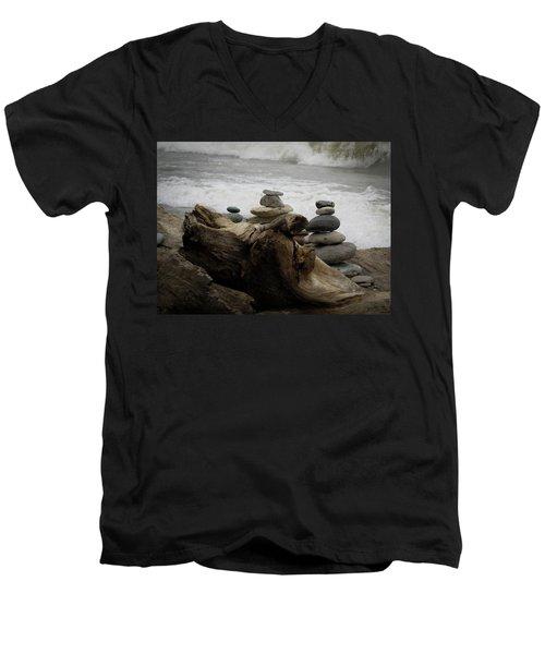 Driftwood Cairns Men's V-Neck T-Shirt