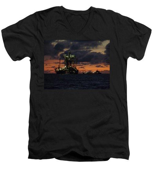 Drill Rig At Dusk Men's V-Neck T-Shirt