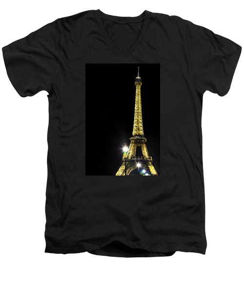 Men's V-Neck T-Shirt featuring the photograph Eiffel At Night by Andrew Soundarajan