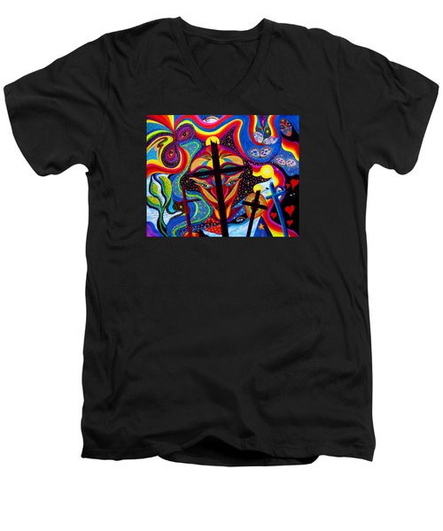 Men's V-Neck T-Shirt featuring the painting Crosses To Bear by Marina Petro
