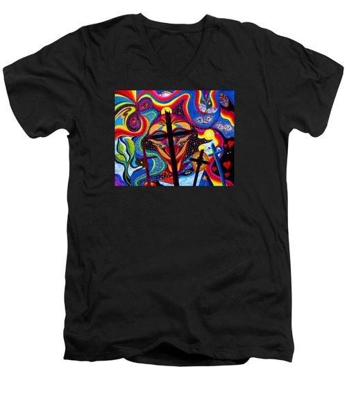 Crosses To Bear Men's V-Neck T-Shirt by Marina Petro