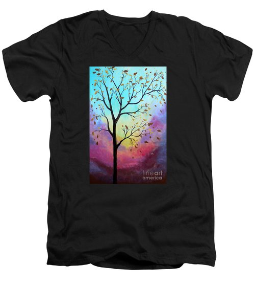 Men's V-Neck T-Shirt featuring the painting Enchanted Aura by Stacey Zimmerman
