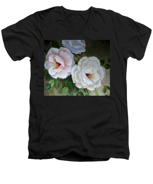 Men's V-Neck T-Shirt featuring the painting Etre Fleur  by Patricia Schneider Mitchell