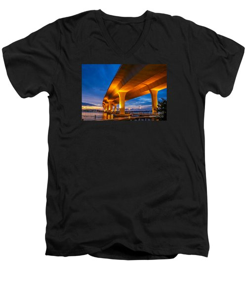 Evening On The Boardwalk Men's V-Neck T-Shirt by Tom Claud