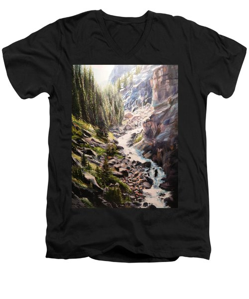 Falls Below Rimrock Lake Men's V-Neck T-Shirt by Patti Gordon
