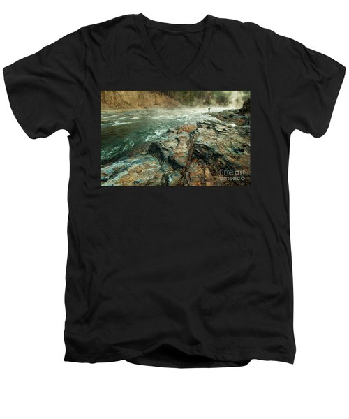 Men's V-Neck T-Shirt featuring the photograph Fishing Day by Iris Greenwell