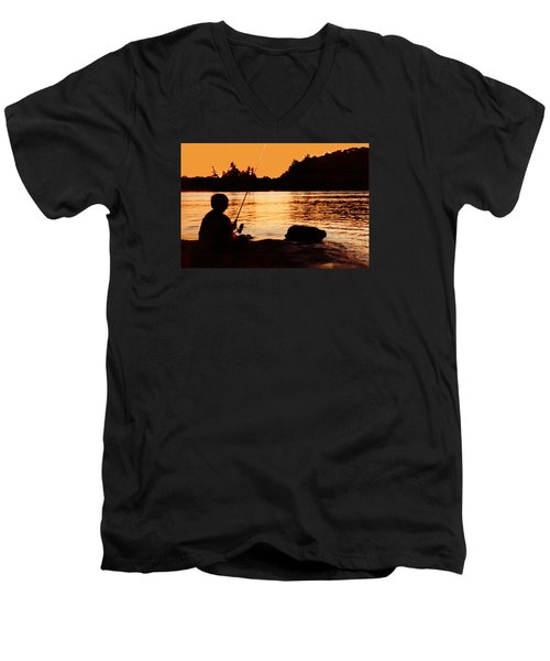 Fishing From A Rock  Men's V-Neck T-Shirt by Lyle Crump
