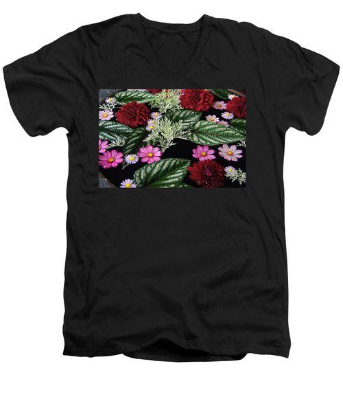 Men's V-Neck T-Shirt featuring the photograph Floating Flower Bouquet by Byron Varvarigos