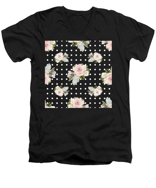 Men's V-Neck T-Shirt featuring the painting Floral Rose Cluster W Dot Bedding Home Decor Art by Audrey Jeanne Roberts