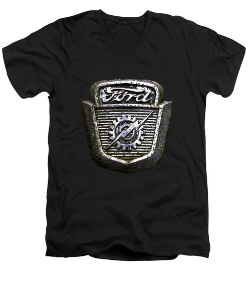Men's V-Neck T-Shirt featuring the photograph Ford Emblem by Debra and Dave Vanderlaan