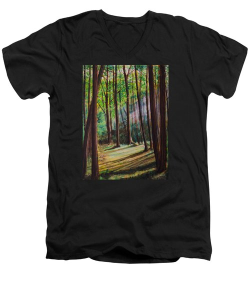 Forest Light Men's V-Neck T-Shirt by Ron Richard Baviello