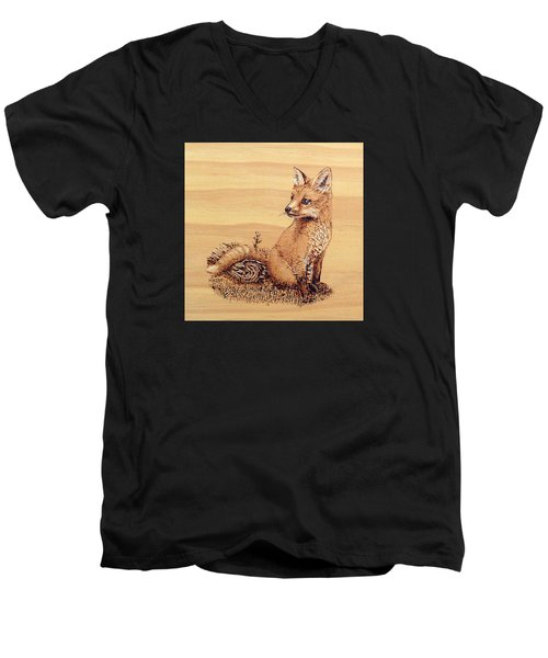 Fox Men's V-Neck T-Shirt by Ron Haist