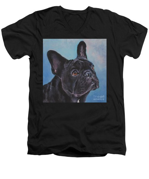 Men's V-Neck T-Shirt featuring the painting French Bulldog by Lee Ann Shepard
