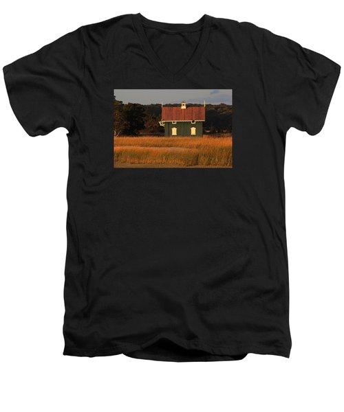 Gamecock Cottage Stony Brook New York Men's V-Neck T-Shirt by Bob Savage