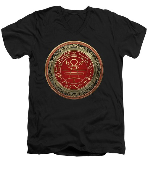 Gold Seal Of Solomon - Lesser Key Of Solomon On Black Velvet  Men's V-Neck T-Shirt