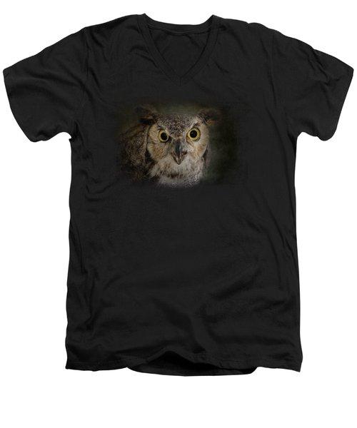 Great Horned Owl Men's V-Neck T-Shirt by Jai Johnson