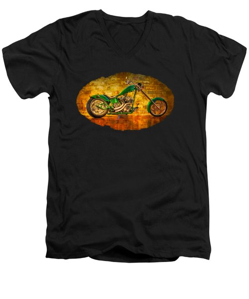 Green Chopper Men's V-Neck T-Shirt by Debra and Dave Vanderlaan