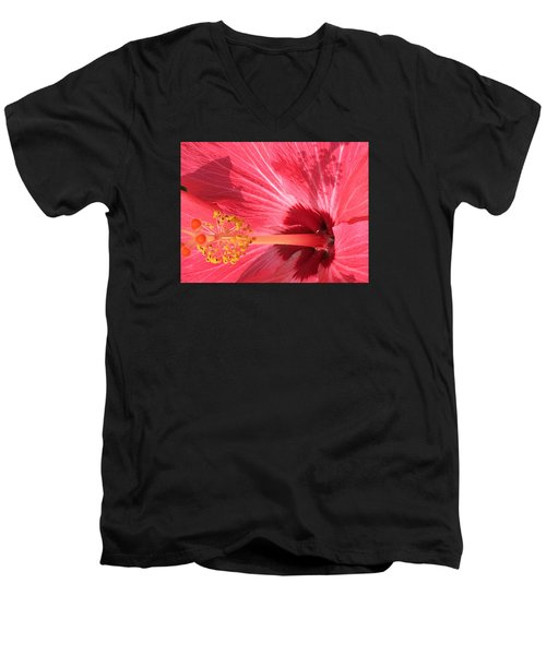 Men's V-Neck T-Shirt featuring the photograph Hibiscus by Kay Gilley