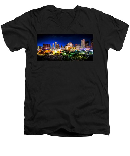 Men's V-Neck T-Shirt featuring the photograph Houston City Lights by David Morefield
