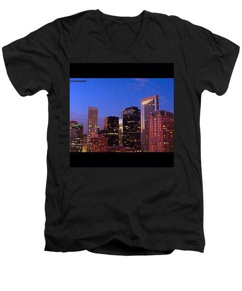 #houston #skyline At Dusk. #night Men's V-Neck T-Shirt by Austin Tuxedo Cat