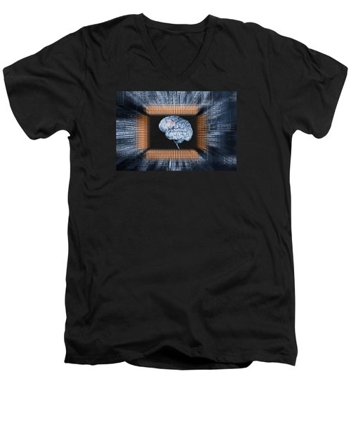 Human Brain And Communication Men's V-Neck T-Shirt