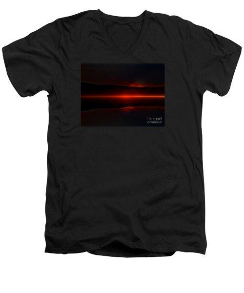 Island Fog Sunrise Men's V-Neck T-Shirt by Elaine Hunter
