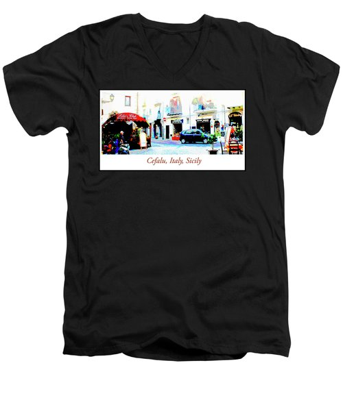 Italian City Street Scene Digital Art Men's V-Neck T-Shirt